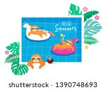 summer fun illustration with... | Shutterstock .eps vector #1390748693