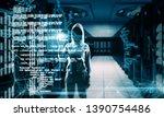 hacker with creative coding... | Shutterstock . vector #1390754486