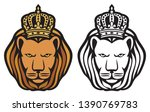 lion head with royal crown  ... | Shutterstock .eps vector #1390769783