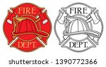 fire department or firefighters ... | Shutterstock .eps vector #1390772366