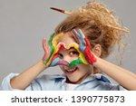 beautiful little girl with a...   Shutterstock . vector #1390775873