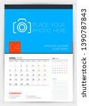 wall calendar planner template... | Shutterstock .eps vector #1390787843