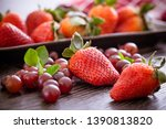 blueberries in a bowl and... | Shutterstock . vector #1390813820