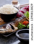 grilled fish with potato and... | Shutterstock . vector #1390813829