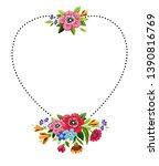 flower frame in heart shape.... | Shutterstock .eps vector #1390816769