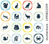 fauna icons set with zebra ... | Shutterstock .eps vector #1390822559