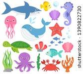 cute ocean animals vector set.... | Shutterstock .eps vector #1390822730