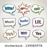hand drawn speech bubbles with... | Shutterstock .eps vector #139085978