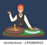 a smiling casino dealer stands...   Shutterstock .eps vector #1390884023