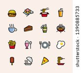 food and drink icon set | Shutterstock .eps vector #1390885733