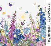 lovely garden. border. vintage... | Shutterstock .eps vector #1390893326