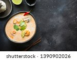Stock photo tom yam kung spicy thai soup with shrimp seafood coconut milk chili pepper and rice view from 1390902026