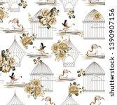 seamless flowers bird  bird... | Shutterstock .eps vector #1390907156