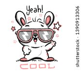 cute cool mini animal with... | Shutterstock .eps vector #1390913306