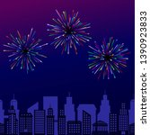 illustration with fireworks on... | Shutterstock . vector #1390923833