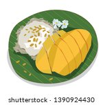 thai sweet sticky rice with... | Shutterstock .eps vector #1390924430