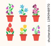 spring flowers in pots ... | Shutterstock .eps vector #1390948970