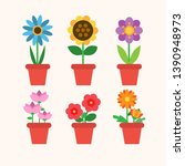 spring flowers in pots ... | Shutterstock .eps vector #1390948973