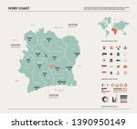 vector map of ivory coast. high ... | Shutterstock .eps vector #1390950149