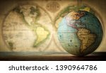 Old Globe On Vintage Map...