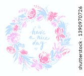 hand drawn floral frame with... | Shutterstock .eps vector #1390970726