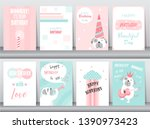 set of birthday cards poster...   Shutterstock .eps vector #1390973423