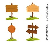 wooden signboard set.... | Shutterstock .eps vector #1391002319