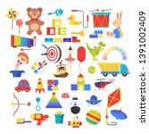 baby toy set. cute funny toys... | Shutterstock . vector #1391002409