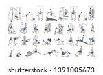 set of workout for men on... | Shutterstock . vector #1391005673