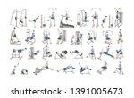 set of workout for men on... | Shutterstock . vector #1391005673
