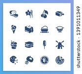 pastry icon set and dough with...