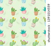 cute cactus in pot seamless... | Shutterstock .eps vector #1391014559