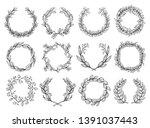 flower frame sketch set ... | Shutterstock .eps vector #1391037443