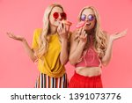 smiling blonde twins in... | Shutterstock . vector #1391073776
