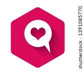 white heart in speech bubble... | Shutterstock .eps vector #1391085770