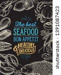 seafood illustration   fish ... | Shutterstock .eps vector #1391087423