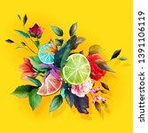 bouquet floral illustration....   Shutterstock .eps vector #1391106119