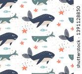 whale seamless vector pattern.... | Shutterstock .eps vector #1391128850