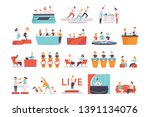 people taking part in a tv show ... | Shutterstock .eps vector #1391134076