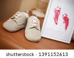 Baby Child Foot Print On White...