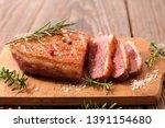 grilled duck steak with lettuce | Shutterstock . vector #1391154680