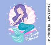 beautiful mermaid with shell on ... | Shutterstock .eps vector #1391155463