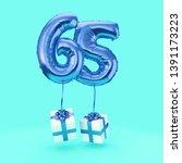 number 65 birthday celebration... | Shutterstock . vector #1391173223