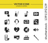 music icons set with violin  cd ...