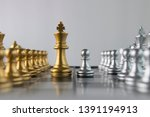 silver chess pawn is facing... | Shutterstock . vector #1391194913