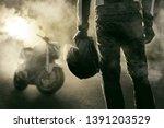 motorcyclists and motorbike... | Shutterstock . vector #1391203529