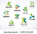 vector green nature symbols ... | Shutterstock .eps vector #139121243