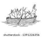 Stock photo hare rabbit animals in boat sketch engraving raster illustration scratch board style imitation 1391226356