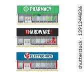 set of building facade ... | Shutterstock .eps vector #1391244836