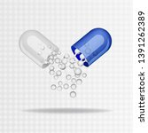 open capsule pill with falling... | Shutterstock .eps vector #1391262389
